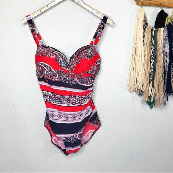 Liz Claiborne Other - Liz Claiborne| Blue & Red One Piece Bathing Suit